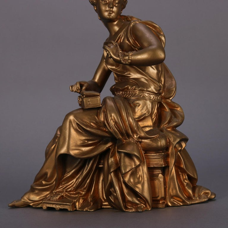 Antique French Figural Gilt Bronze Sculpture of Classical Woman, circa 1890 For Sale 4