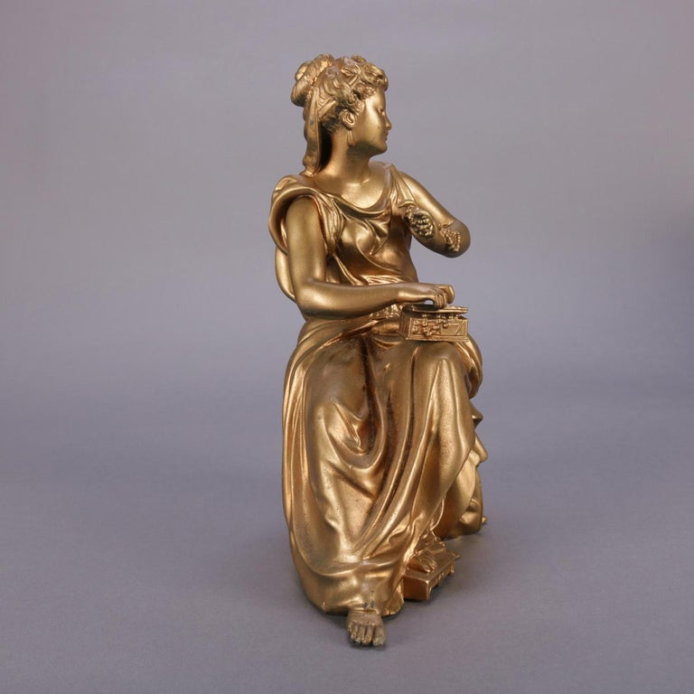 Classical Greek Antique French Figural Gilt Bronze Sculpture of Classical Woman, circa 1890 For Sale