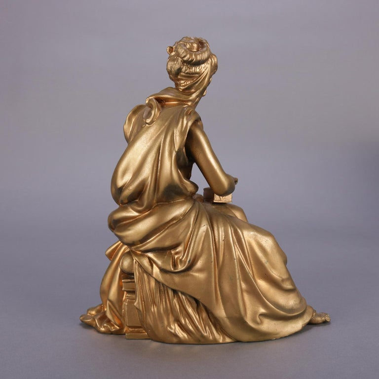 Cast Antique French Figural Gilt Bronze Sculpture of Classical Woman, circa 1890 For Sale