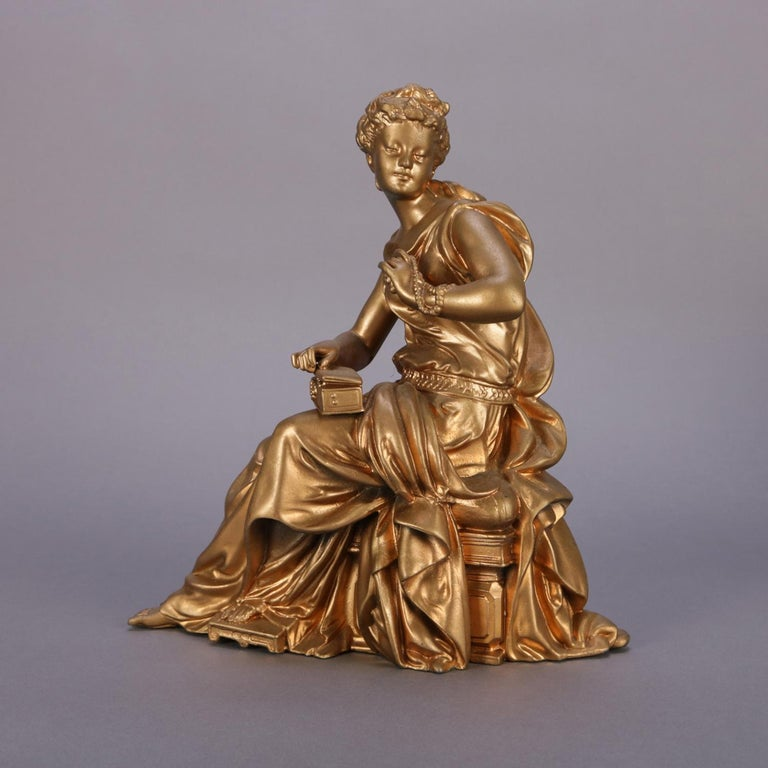 19th Century Antique French Figural Gilt Bronze Sculpture of Classical Woman, circa 1890 For Sale