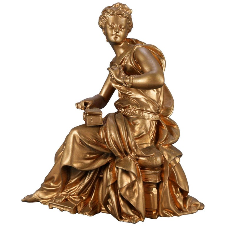Antique French Figural Gilt Bronze Sculpture of Classical Woman, circa 1890 For Sale