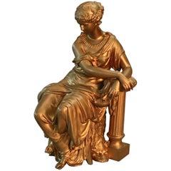 Antique French Figural Gilt Bronze Sculpture of Classical Woman, circa 1890