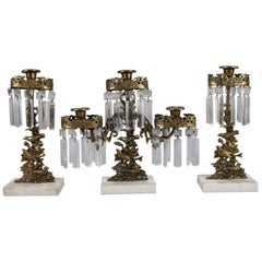 Antique French Figural Gilt, Crystal and Marble Bird Three-Piece Girandole Set