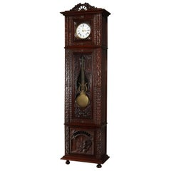 Antique French Figural High Relief Deeply Carved Oak Tall Case Clock, circa 1890