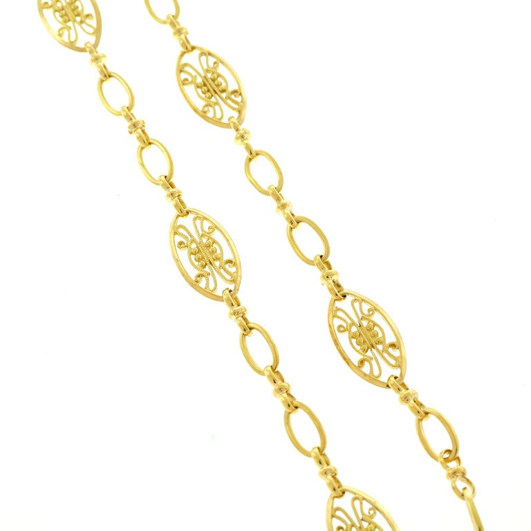 Antique French Filigree Chain Necklace For Sale 3