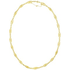 Antique French Filigree Gold Necklace