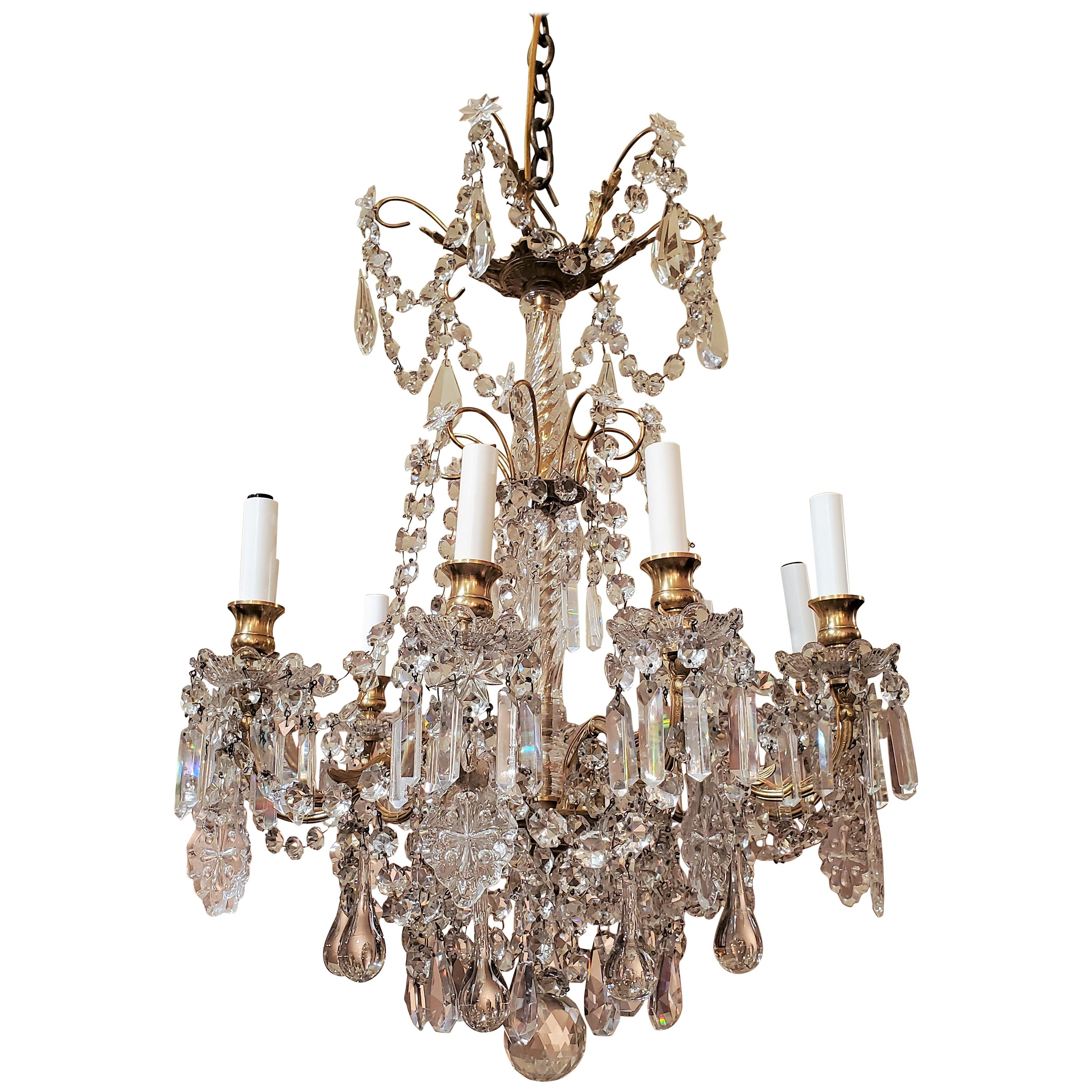 Antique French Fine Crystal and Bronze 9-Light Chandelier, circa 1880