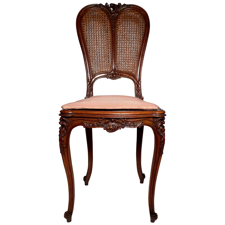 Antique French Fine Walnut Side Chair, circa 1880