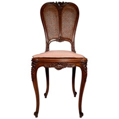 Antique French Fine Walnut Side Chair, circa 1880