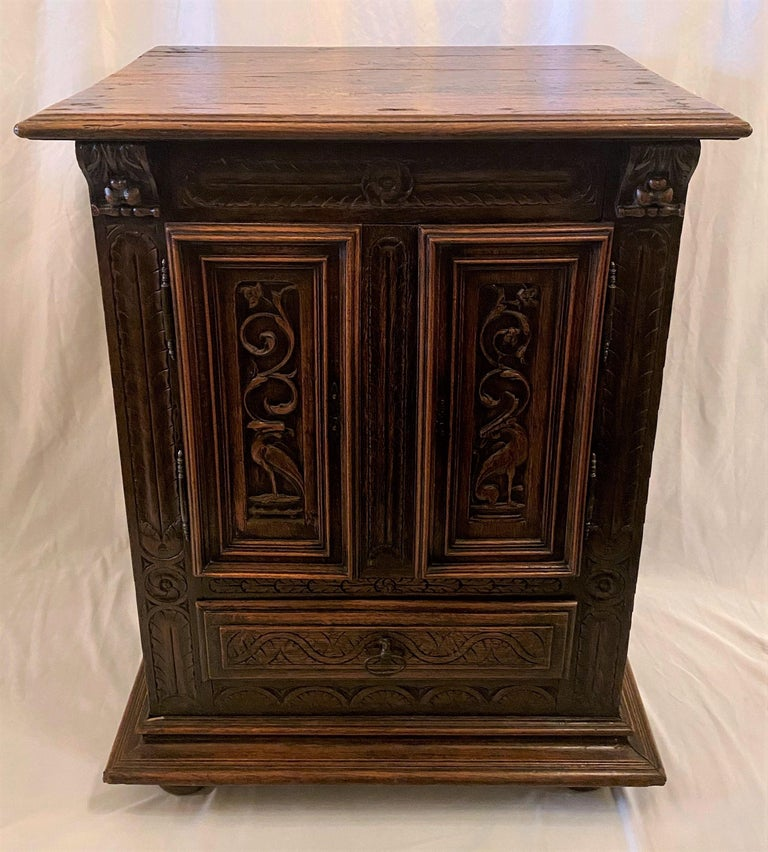 Antique French finely carved oak night table, circa 1870-1880.