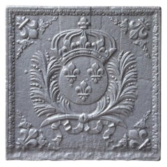Antique French Fireback with Arms of France, 17th-18th Century
