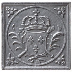 Antique French Fireback with Coat of Arms of France, 18th Century