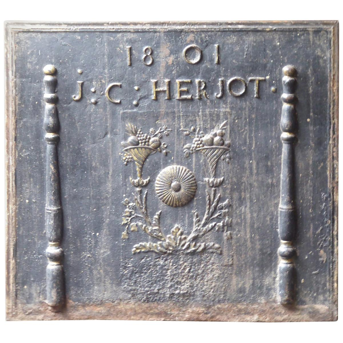 Antique French Fireback with Pillars and Flower Baskets, Dated 1801