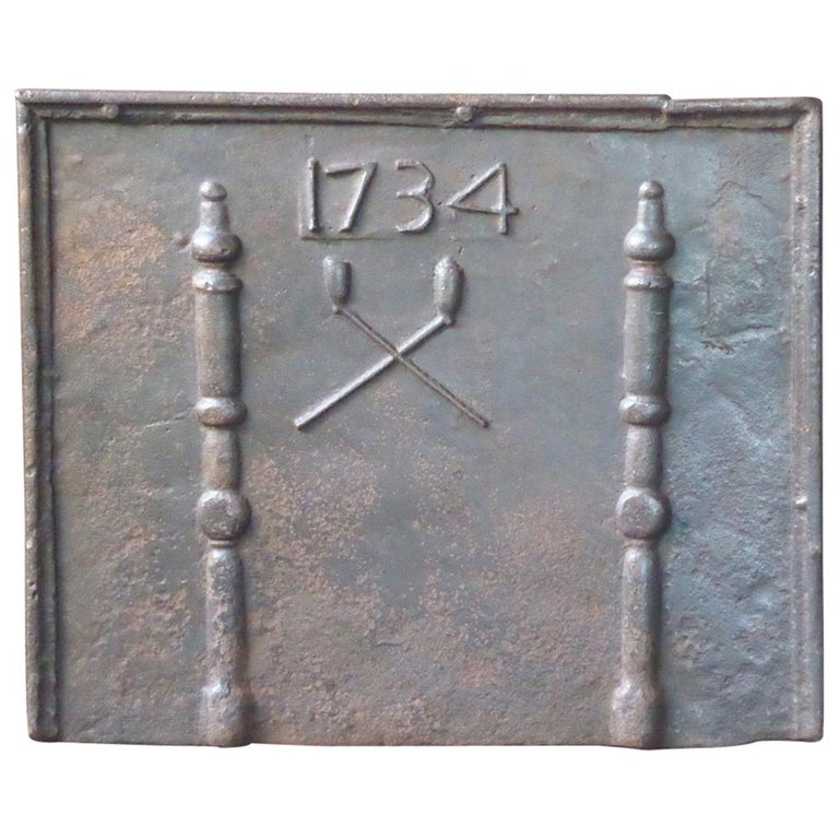 Antique French Fireback with Pillars and Pipes, Dated 1734 For Sale