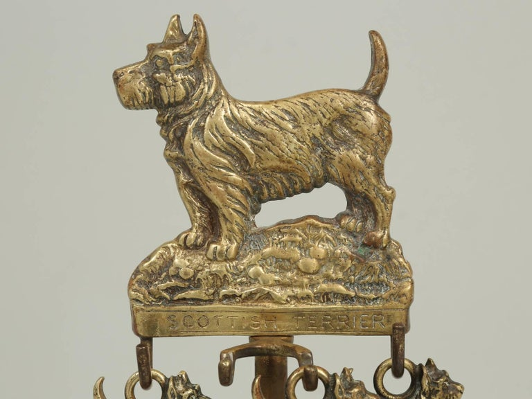 Antique French Fireplace Tool Set With A Dog Motif At 1stdibs
