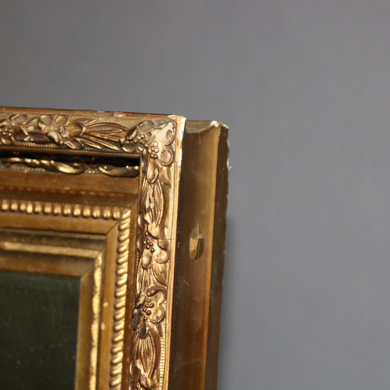 19th Century Antique French First Finish Foliate and Floral Giltwood Framed Wall Mirror For Sale
