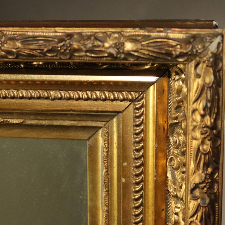 Antique French First Finish Foliate and Floral Giltwood Framed Wall Mirror For Sale 5