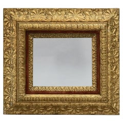 Antique French First Finish Foliate Giltwood and Velvet Art Frame, circa 1880