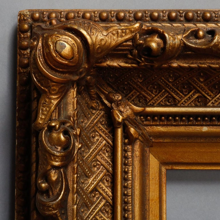 An antique French giltwood painting or drawing art frame offers first finish gilt with basket weave, beading and foliate decoration, 19th century We will transform this into a wall mirror upon request  ***DELIVERY NOTICE – Due to COVID-19 we are
