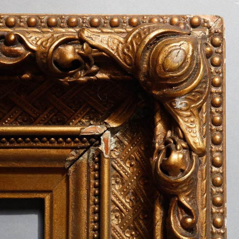 Antique French First Finish Giltwood Art Frame with Basket Weave, 19th Century In Good Condition For Sale In Big Flats, NY