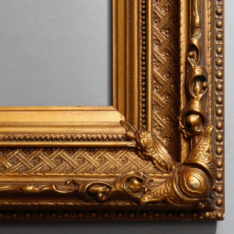 Antique French First Finish Giltwood Art Frame with Basket Weave, 19th Century For Sale 1