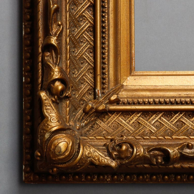 Antique French First Finish Giltwood Art Frame with Basket Weave, 19th Century For Sale 2