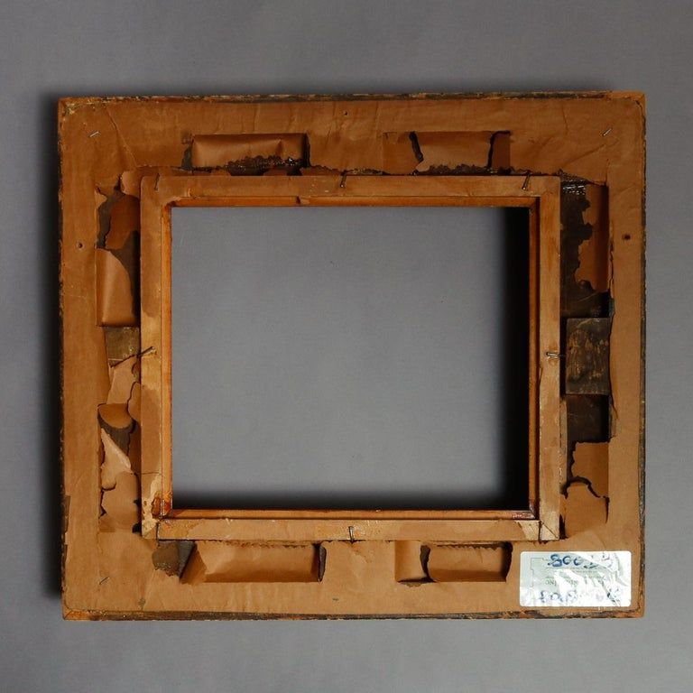 Antique French First Finish Giltwood Art Frame with Basket Weave, 19th Century For Sale 3