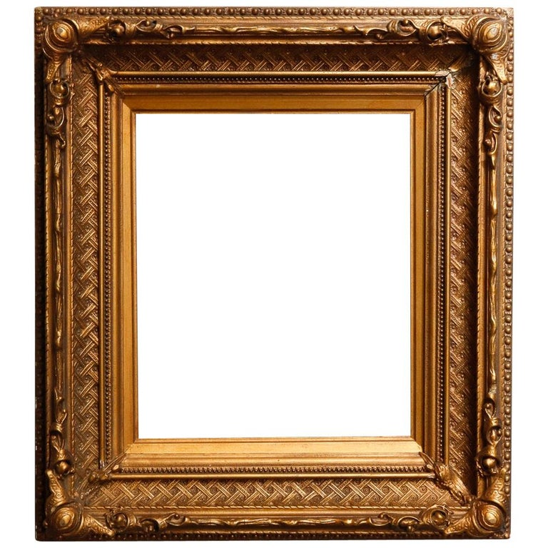 Antique French First Finish Giltwood Art Frame with Basket Weave, 19th Century For Sale