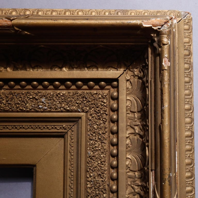 Antique French First Finish Giltwood Art Frame with Ginkgo Leaves, 19th Century In Good Condition For Sale In Big Flats, NY