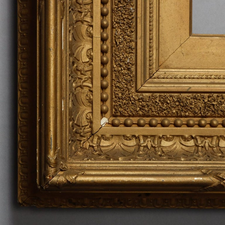 Antique French First Finish Giltwood Art Frame with Ginkgo Leaves, 19th Century For Sale 2