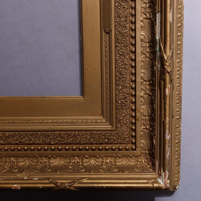 Antique French First Finish Giltwood Art Frame with Ginkgo Leaves, 19th Century For Sale 3