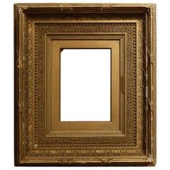 Antique French First Finish Giltwood Art Frame with Ginkgo Leaves, 19th Century