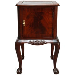 Antique French Flame Mahogany Chippendale Style Marble Top Side Table