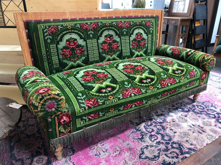 Late 19th Century Antique French Floral Green Settee Sofa
