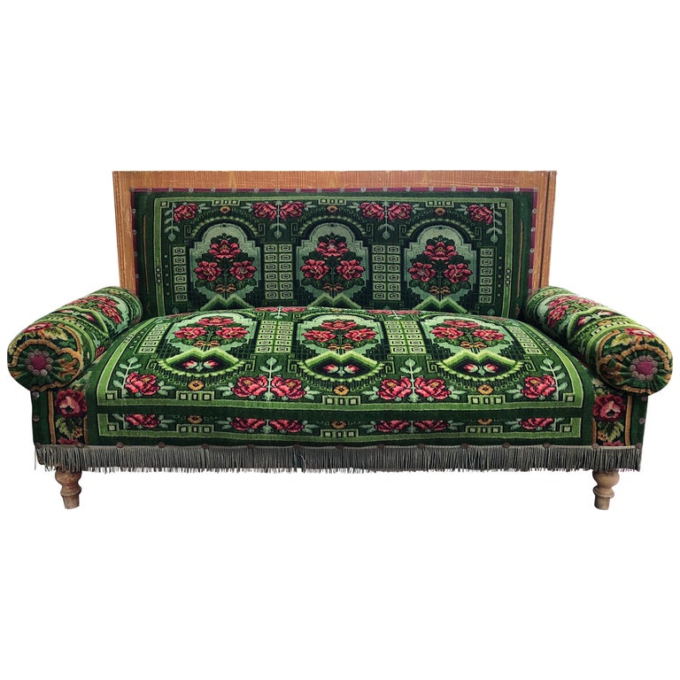 Antique French Floral Green Settee Sofa