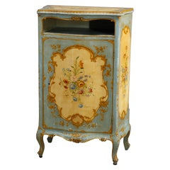 Antique French Floral Paint Decorated Bombe Music Cabinet, Circa 1890