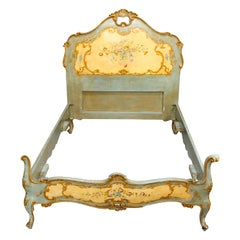 Antique French Floral Paint & Gilt Decorated Bed, Circa 1890