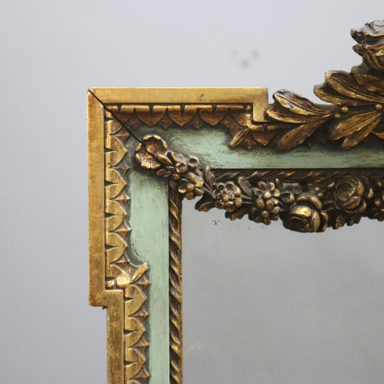 Antique French Floral Swag Gilt Wood Over Mantel Wall Mirror, 19th Century In Good Condition For Sale In Big Flats, NY