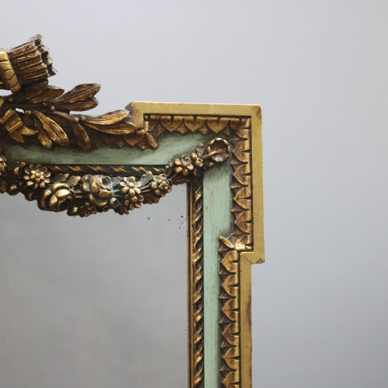 Antique French Floral Swag Gilt Wood Over Mantel Wall Mirror, 19th Century For Sale 1