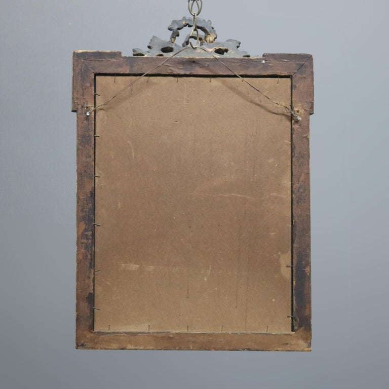Antique French Floral Swag Gilt Wood Over Mantel Wall Mirror, 19th Century For Sale 5
