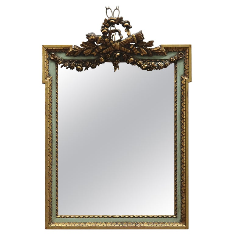 Antique French Floral Swag Gilt Wood Over Mantel Wall Mirror, 19th Century For Sale