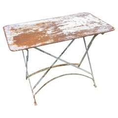 Antique French Folding Metal Garden Table in Distressed White Finish