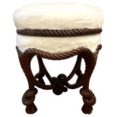 Antique French Fournier Style Knotted Rope and Tassel Ottoman