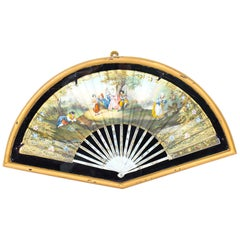 Antique French Framed Mother Pearl Hand Painted Fan, Late 18th Century