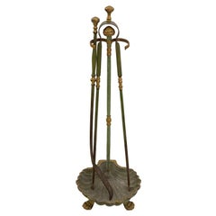Antique French French Fireplace Tool Set Brass Plated with 3 Pieces, Claw Feet
