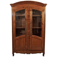 Antique French Fruitwood Inlaid Bookcase/Display Cabinet