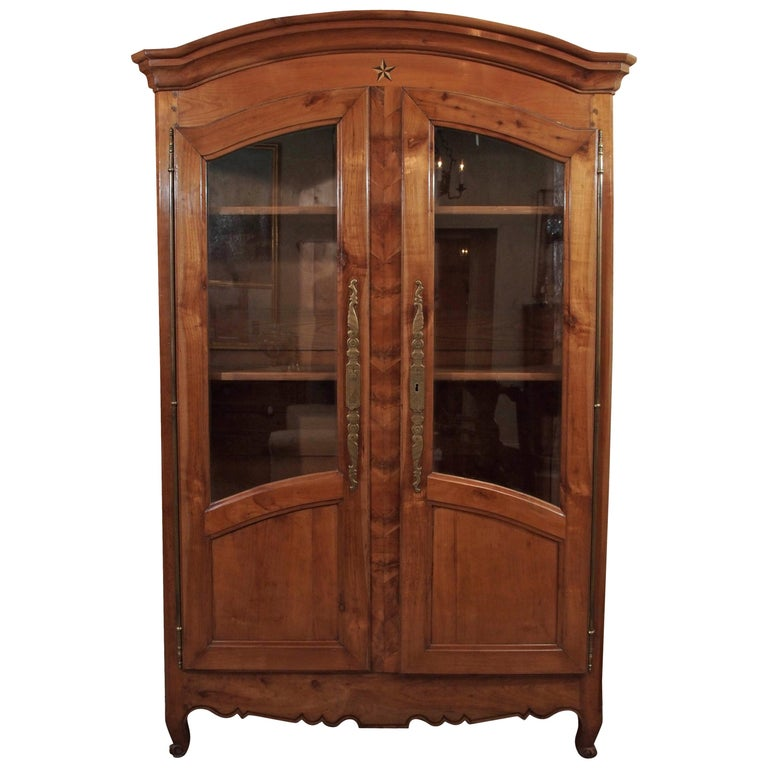 Antique French Fruitwood Inlaid Bookcase/Display Cabinet ...