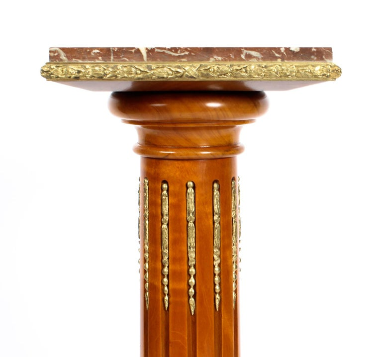 Mid-19th Century Antique French Fruitwood Ormolu Mounted Pedestal, 19th Century For Sale