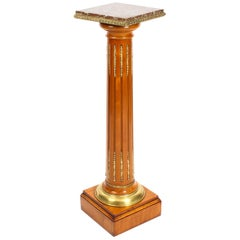 Antique French Fruitwood Ormolu Mounted Pedestal, 19th Century