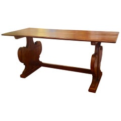 Antique French Fruitwood Refectory Dining / Kitchen Table